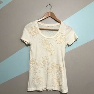 J. CREW Off White Cream Floral Cotton T-shirt Sm